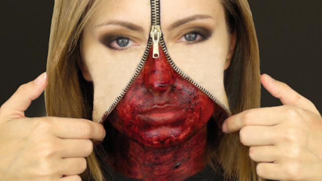 It's terrifyingly simple to make your face look like it got unzipped for Halloween.