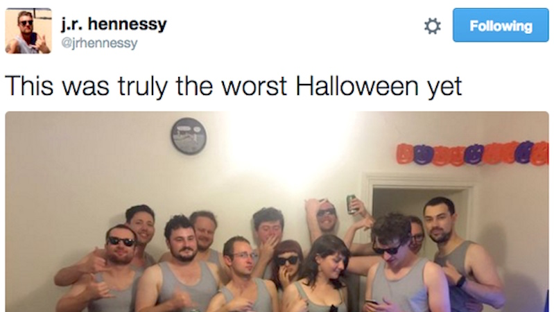 Beach-loving bro shows up to Halloween party, is spectacularly pranked by all of his friends.
