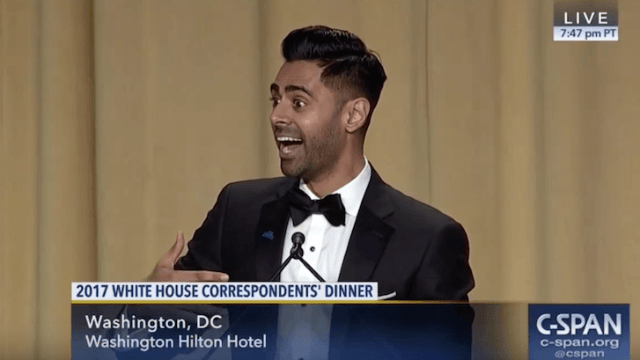 Hasan Minhaj took full advantage of Trump's absence from the White House Correspondents' Dinner.