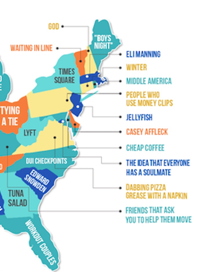 Here's a map of what each state hates the most. You ok, Indiana?