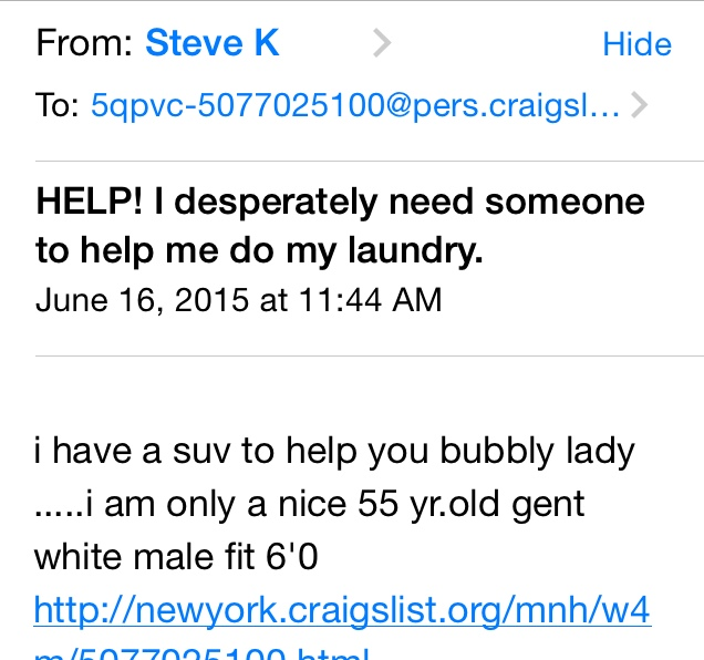 I Offered A Date On Craigslist For Help With 40 Lbs Of Laundry And