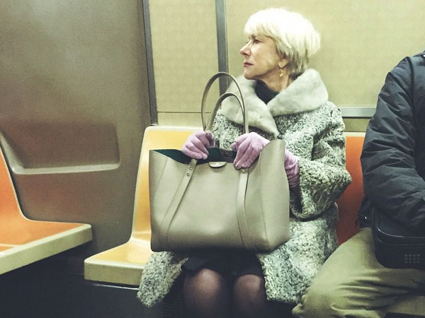 Helen Mirren was seen riding the NYC subway, is a hero to all of humanity.