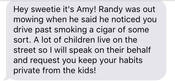 Nosy neighbor wants this teen to stop smoking delicious taquitos around the kids.