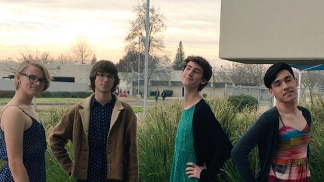 Buchanan High School boys wear dresses to class to protest the dress code.