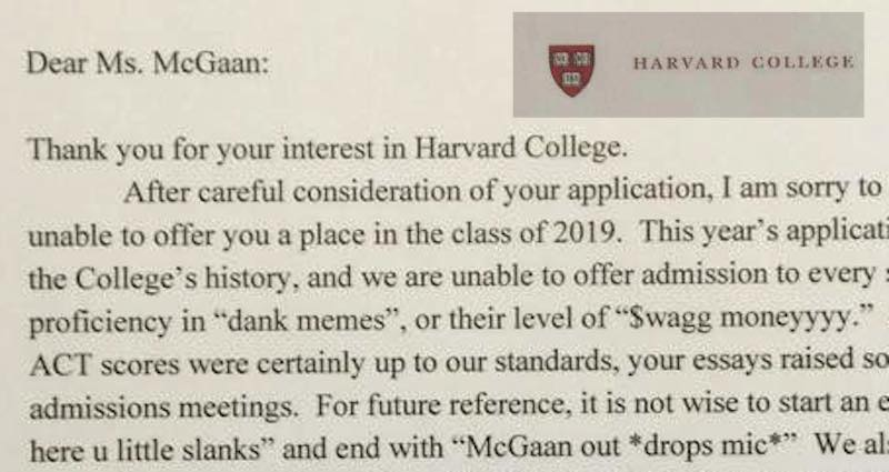 High school humorists deserve harvard admission for duping the web high school humorist deserves harvard admission for her viral harvard rejection letter thecheapjerseys Image collections