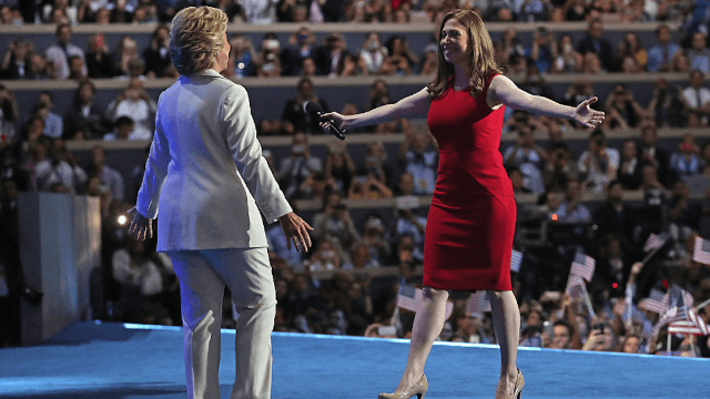 Hillary Clinton's backstage reaction to Chelsea's speech will make you want to call your mom.