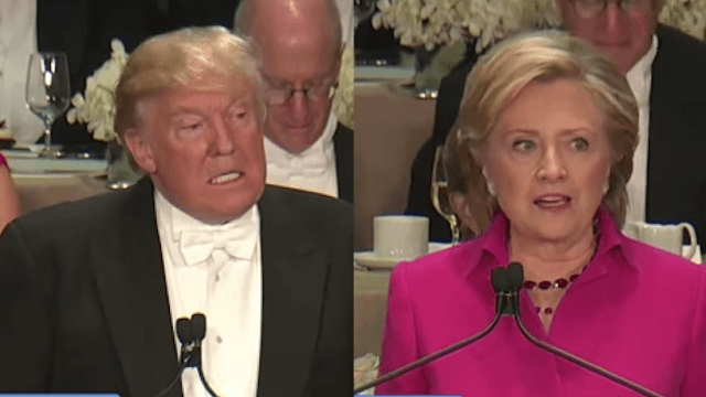 Hillary Clinton and Donald Trump turned an annual charity dinner into a roast.