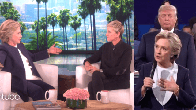 Hillary told Ellen that Trump 'literally stalked' her during the debate.