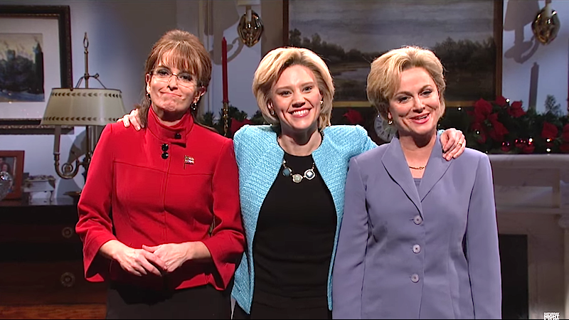 Tina Fey & Amy Poehler are Sarah Palin & Hillary Clinton as the ghosts of elections past on 'SNL'.