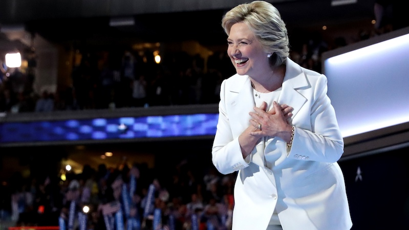 Gross men of Twitter celebrated Hillary's nomination by telling her to smile.