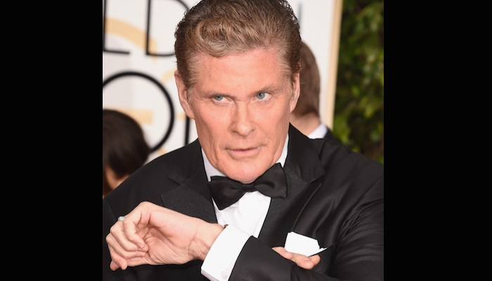 David Hasselhoff doing some red carpet schtick with his wrist. He's still got it.