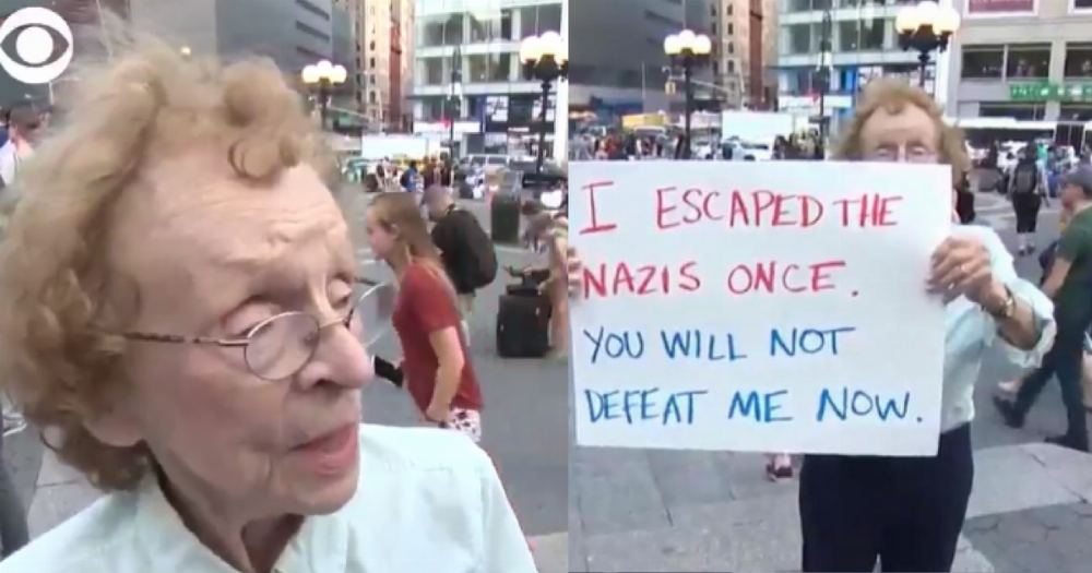 89-year-old woman who survived Nazi Germany takes a stand against Nazi USA.