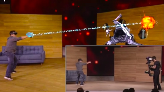 """The HoloLens """"mixed reality"""" device lets you project video games onto real life. It looks awesome."""