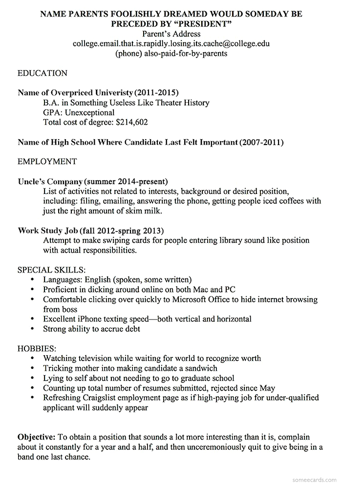 A Resume Template For Every Unemployed Recent College Grad