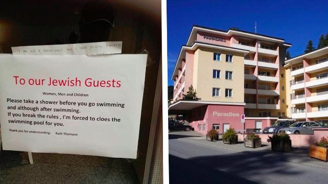 Hotel posts a sign requiring Jewish people to shower before entering the pool. Oy.