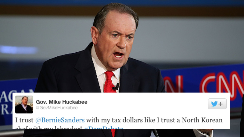 Mike Huckabee wasn't at the #DemDebate tonight, but he still found time to offend everyone.