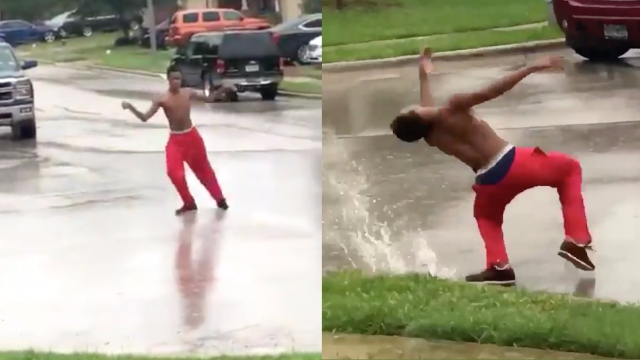 Fearless guy dancing in the middle of Hurricane Harvey inspires a Twitter dance-off.