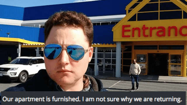 Husband hilariously documents his existential crisis when his wife drags him to IKEA.
