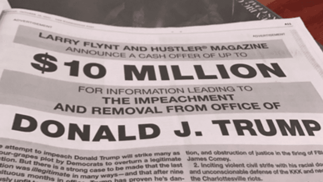 Hustler publisher Larry Flynt offers $10 million for 'smoking gun' that could impeach Trump.