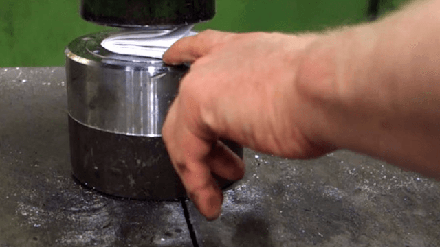 Man with hydraulic press tests theory that paper can't be folded more than 7 times, with explosive results.