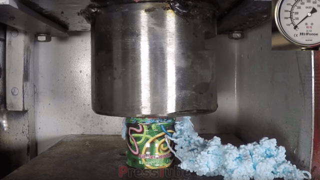 Wanna see a can of silly string get crushed by a hydraulic press? Sure you do.