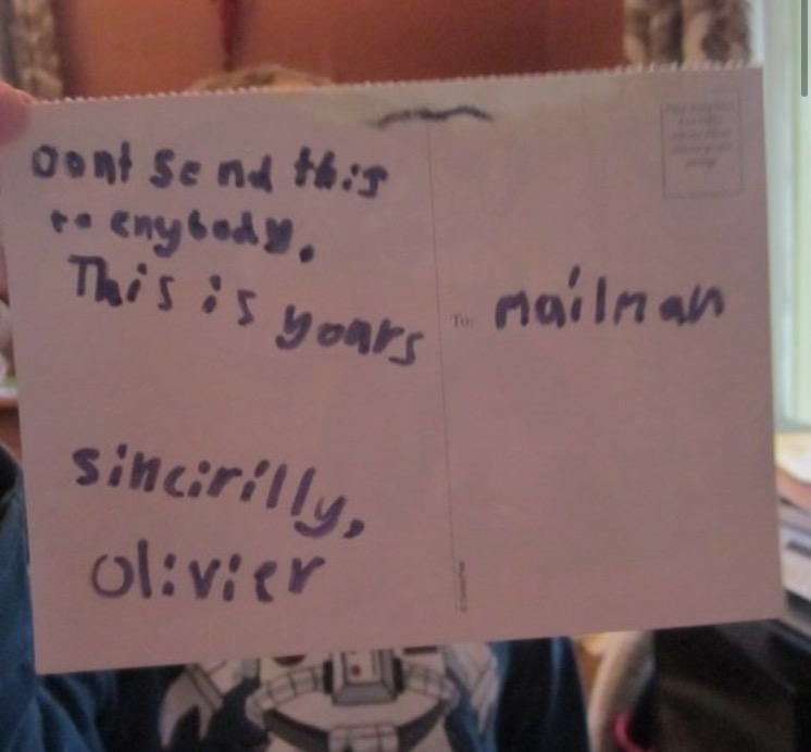 Kid writes sweet postcard to the one person who (he thinks) never gets any mail.