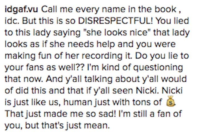 Fans call out Nicki Minaj for Instagram post that seems to mock mentally ill woman on street.
