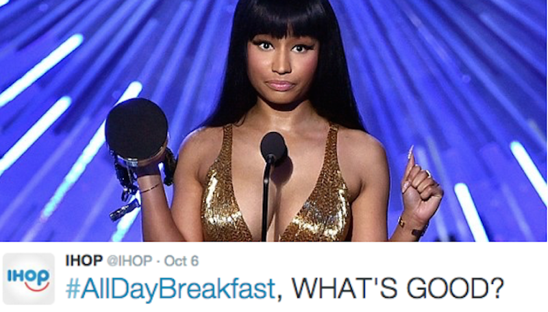 Brands that have had #AllDayBreakfast for years start online food fight with McDonald's.