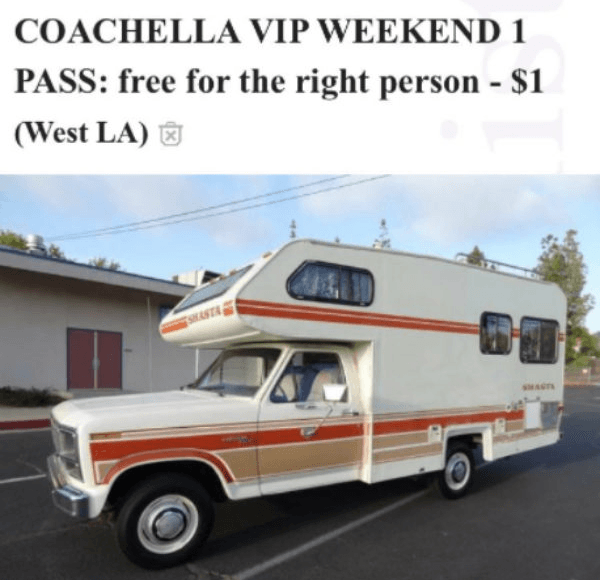 56-year-old man seeks young female Coachella companion to meet his 20 creepy demands.