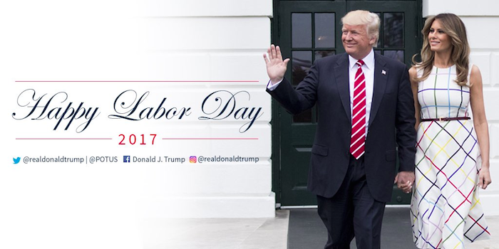 Melania's dress has Twitter pointing out a major issue with Trump's Labor Day tweet.
