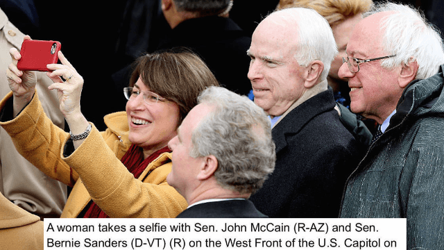 There's just one problem with this caption about a 'woman posing with two senators' at the inauguration.