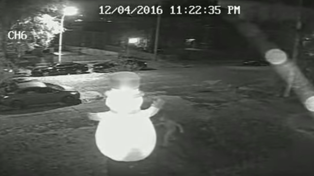 Man whose inflatable Frosty the Snowman was brutally stabbed uses the ridiculous video to raise money for charity.