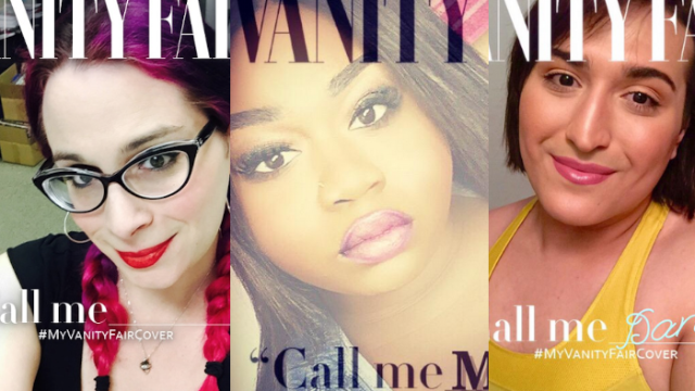 """Inspired by Laverne Cox and Caitlyn Jenner, transgender people are making their own """"Vanity Fair"""" covers."""