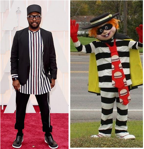 Best Oscar outfit of the night is won by will.i.am's Hamburglar tribute.