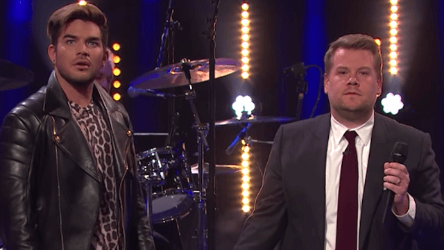 Adam Lambert and James Corden pay tribute to Queen with an epic 'front man battle.'