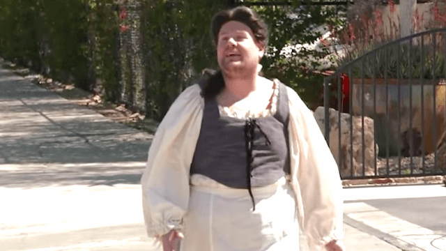 James Corden confuses pedestrians with impromptu production of 'Beauty of the Beast' at a busy LA intersection.