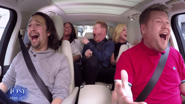 Lin-Manuel Miranda, Audra McDonald, Jesse Tyler Ferguson, Jane Krakowski join James Corden for the ultimate showtune carpool karaoke.