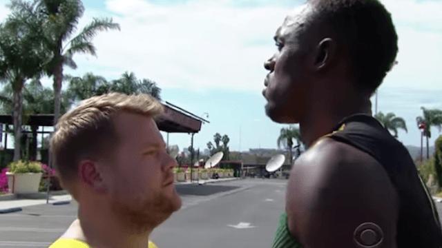 James Corden and Owen Wilson race Usain Bolt.