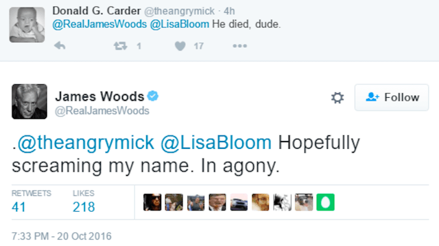 Scumbag James Woods gloats about death of a Twitter user who joked Woods did coke.