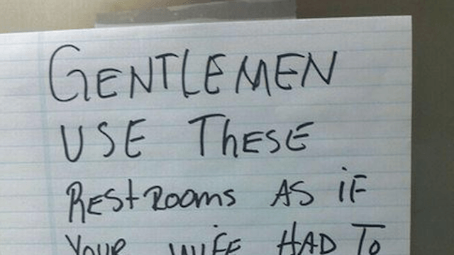 Janitor leaves bathroom note that everyone would be wise to heed.