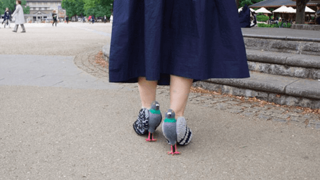 Japanese woman's amazing pigeon shoes are sure to turn heads in the park this summer.