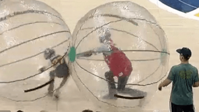 Mascot gets sweet revenge after adult takes hamster race against child way too seriously.