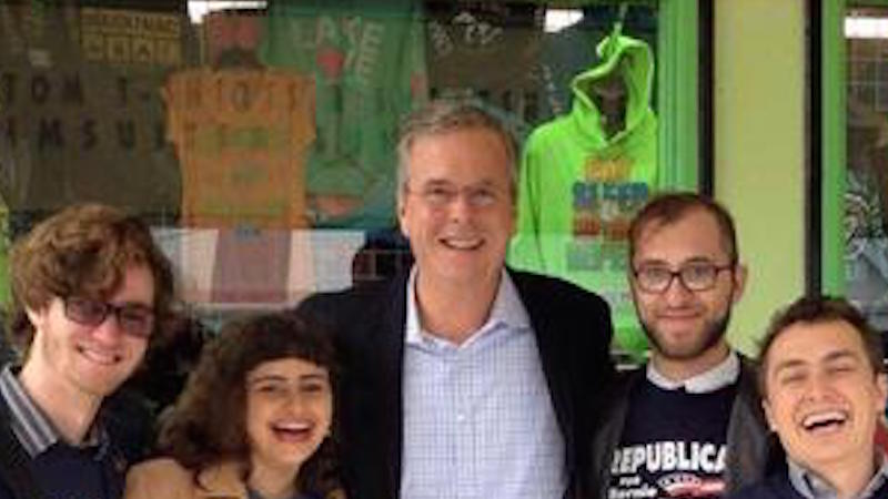 """How did Jeb Bush not realize he would end up getting """"Berned"""" by this photobomb?"""