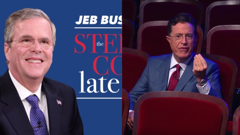 Jeb Bush accidentally starts fight with Stephen Colbert before 'Late Show' even starts.