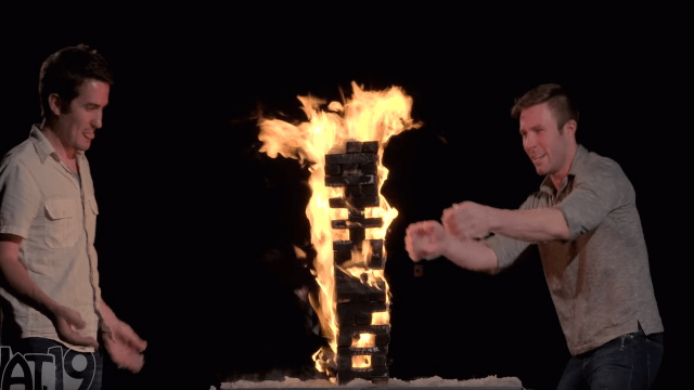 You're going to want to play flaming Jenga after you watch these dudes. Do not play flaming Jenga.