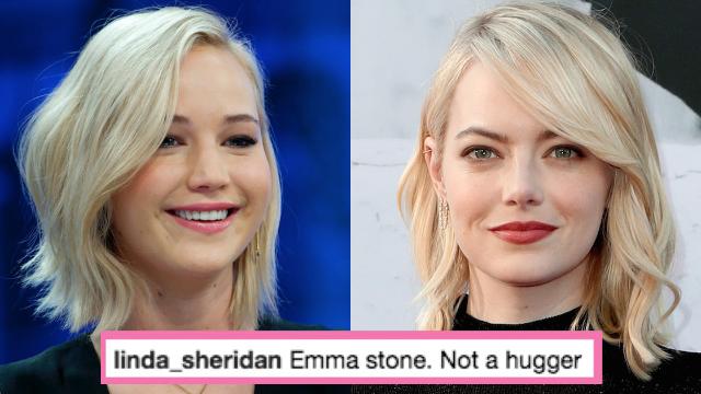 Jennifer Lawrence tried to hug Emma Stone and it did not go well. Stars: awkward like us!