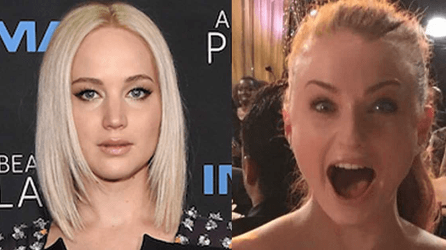 Jennifer Lawrence punched Sophie Turner in the vajayjay. But all in good fun. Go see their movie?