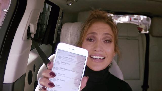 James Corden commandeered J. Lo's phone to text Leonardo DiCaprio. His nickname for her is wonderful.