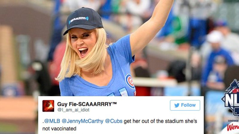 The MLB tweeted a pic of Jenny McCarthy and the Internet responded appropriately.