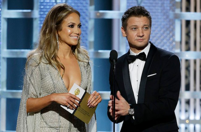 "Jeremy Renner took to Twitter to defend his award show joke about Jennifer Lopez and her ""globes."""